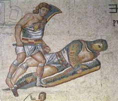 Battle between Gladiators, detail of a gladiator pinning another to the ground, 320 AD (mosaic), Roman, (4th century AD) / Galleria Borghese, Rome, Italy / Alinari / The Bridgeman Art Library