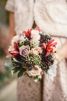 Beautiful bridesmaid bouquet in rich, romantic colors - deep aubergine, shades of plum, cream, and dusty rose.  Photography by Lauren Gabrielle.