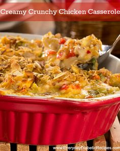 Creamy Crunchy Chicken Casserole   This low-carb casserole gets its flavor from chicken, peppers, onions, cheese, and more! Plus, it only takes only 30 minutes to bake!