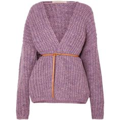 Vanessa Bruno Irvina belted ribbed-knit cardigan (30.805 RUB) ❤ liked on Polyvore featuring tops, cardigans, lavender, light purple cardigan, slouchy tops, sleeve top, lavender cardigan and leather belt