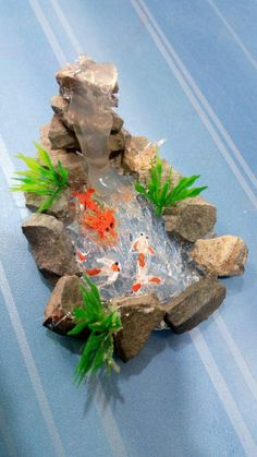 Hot glue waterfall #miniaturefairygardens