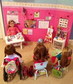 Doll Classroom!  This site has some really great DIY for AG furniture and rooms!.