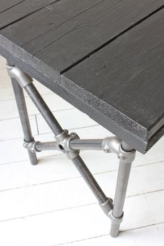Reclaimed Scaffolding Board Painted Black with by inspiritdeco - Kee Klamp fittings on the legs Options for the dining table Industrial Style Furniture, Reclaimed Furniture, Pipe Furniture, Bespoke Furniture, Pallet Furniture, Furniture Projects, Furniture Design, Industrial Pipe, Scaffold Boards