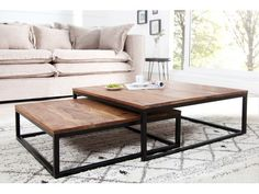 Table basse design en bois massif Sheesham Pamela
