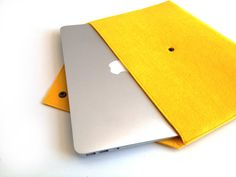Envelope Style Felt Laptop Sleeve, File Folder, Document Organizer, 11 inch mac book case, cover in Yellow.