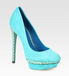 B Brian Atwood Fontanne Suede and Snake-Print Leather Platform Pumps