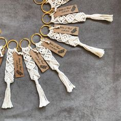 50 pcs macrame keychains to use as a wedding favors, wedding & babyshower gift / souvenir. Metal ring can be silver and gold. Keychains will be actioned after your order so it will take approx 1 week to ship products after you placed order. Name tag can be customized. Total length approx: