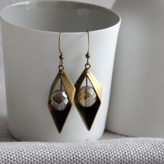 Diamond Point Dangly Earrings in Gold Handmade Jewellery, Earrings Handmade, Dangly Earrings, Drop Earrings, Diamond Point, Czech Glass Beads, Geometric Shapes, Dublin, Free Gifts