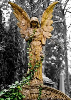 Angel of Nature statue in Cathcart Cemetery, Glasgow, Scotland.