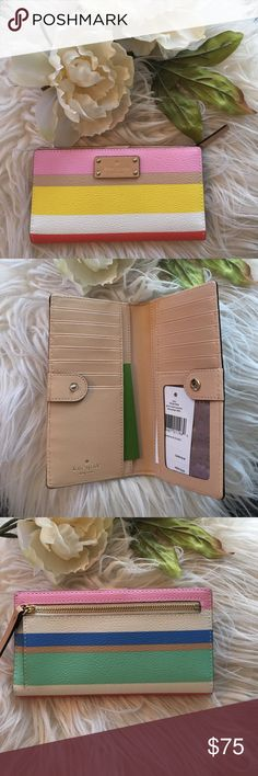 Kate Spade Wallet Brand new with tags authentic Kate Spade Stacy Wallet. Spring Time perfection! Multi color pastel colors in a striped pattern. Gold hardware, back exterior pocket. Plenty of space for credit cards and an ID window. kate spade Bags Wallets