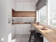projekt 10 - Średnia otwarta wąska kuchnia w kształcie litery u, styl nowoczesny - zdjęcie od PASS architekci