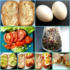 Lekker vers volkorenbrood met ei, sla, tomaat, bosui en beetje peper!