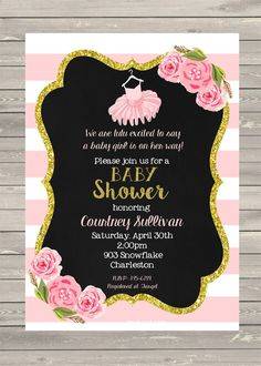 Ideas for baby shower invitations baby girl shower pink tutu and tutu girl gold glitter baby shower invitations by noteablechic filmwisefo Images