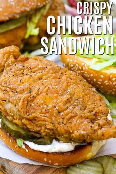 Nothing quite compares to a fried chicken sandwich. Our chicken breasts are brined then breaded an Argo's cornstarch coating (made without buttermilk!) and fried until perfectly crispy. Served with the best of sauces, sides, and fillings this sandwich is irresistible. #spendwithpennies #chickensandwich #crispychicken #friedchicken #maindish #friedsandwichrecipe