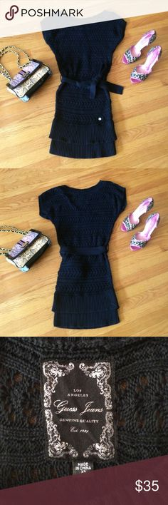 🎀 Guess Jeans LA - Pretty Black Crochet Dress XS! Sexy & Authentic! Guess Jeans Los Angeles, Black Crochet Dress in Misses Size XS (to Small). In good, pre-owned condition! Gotta love that it's 100% Cotton! Bust measurement is approx. 38 inches (loose fitting on top), waist is approx. 30 inches; sinch up with black knitted belt (included). Total length is approx. 37 inches. Wear black or other bodycon/long cami underneath. Pair with leggings for a more casual look or with heels or boots to…