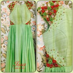 SC-D31 : Mint green pleated floor length dress!!!We can customize the colour   size as per your requirement.To order please call/ WhatsApp on 9949944178 or mail us @issadesignerstudio@gmail.com  05 December 2016