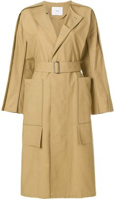 Shop online neutral Ujoh side slit collarless trench coat as well as new season, new arrivals daily. Designer Trench Coats, Burberry Trench Coat, Raincoats For Women, Blazer Jacket, Baby Design, Duster Coat, Women Wear, My Style, Cotton