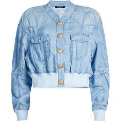 Balmain Linen-Blend Denim Bomber ($1,330) ❤ liked on Polyvore featuring outerwear, jackets, blue, denim jacket, flight jacket, cropped jacket, blue denim jacket and balmain jacket