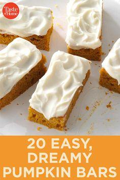 Pumpkin Bars You'll Want to Bake All Fall Long - Pumpkin Recipes - Pumpkin Bars, Baked Pumpkin, Pumpkin Dessert, Pumpkin Recipes, Fall Recipes, Coconut Biscuits, No Bake Pumpkin Cheesecake, Salty Cake, Fall Baking