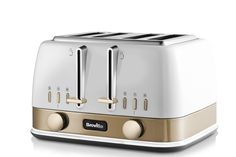 Breville New York Collection 4 Slice Toaster with High-Lift & Wide Slots, White & Gold Toaster, New York, Simple, Shopping, Collection, New York City, Toasters, Nyc, Sandwich Toaster