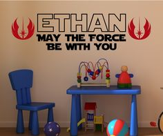 Jedi Knight May the force be with you vinyl wall decal art vinyl lettering sticker. $12.99, via Etsy.