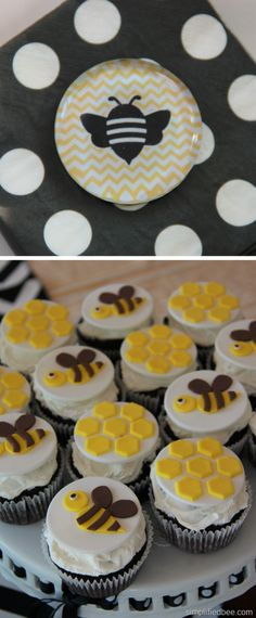 """love the honeycombs on these cupcakes-- maybe as cupcake picks (along with bees, """"welcome babee"""", and hives)"""
