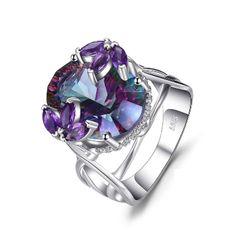12CT Cocktail Mystic Rainbow /& Morganite /& Garnet Amethyst Gems 925 Silver Ring