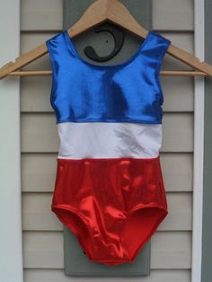Red white and blue patriotic gymnastics leotard by Icexquisite, $25.00