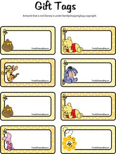 Baby shower winnie the pooh theme free printable 16 Ideas Winnie The Pooh Themes, Winnie The Pooh Birthday, Winnie The Pooh Friends, Free Printable Gift Tags, Free Printables, Winnie Poo, Theme Mickey, Disney Classroom, Birthday Tags