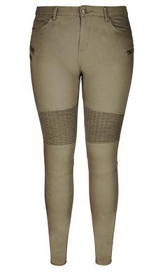City Chic - MOTO ZIP FRONT PANTS - Women's Plus Size Fashion