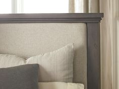 in by Bassett Furniture in Fort Myers, FL - Queen/Driftwood Brentwood Upholstered Bed. Panel Headboard, Panel Bed, Transitional Bedroom, House Inside, Upholstered Beds, Bed Sizes, Bed Design, Bed Frame, Brown And Grey