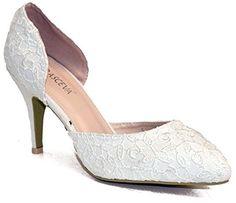 XINJING-S Meine Damen Frauen Satin White Wedding Bridal Spitzen schneiden Sie Gerichte Schuhe Größe 3-8, Uk 4.