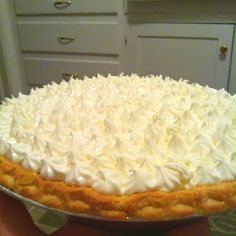 Lemon supreme pie. Bake a ready-made shell according the the directions on the package. Whip 16 oz. of cream cheese with 1cup of powdered sugar. Add about 1 1/2 tablespoon of lemon juice and a little zest. Fold in 2 cups of cool whip. Fill pie shell about 1/3 of the way with cream cheese. Make a batch of cook and serve jello lemon pudding adding 2 tsp. lemon zest. Let it cool for about an hour. Pour/flop over cream cheese mixture. Cool to room temp before decorating with remaining topping…