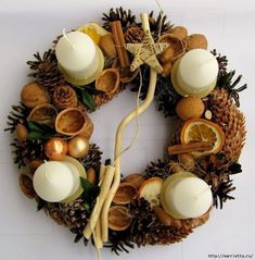 Pine cone, naturally decorated with nuts, dried fruits . White candles on metal spikes. Christmas Advent Wreath, Holiday Wreaths, Winter Christmas, Christmas Home, Christmas Crafts, Navidad Natural, Advent Candles, Blog Deco, Xmas Decorations