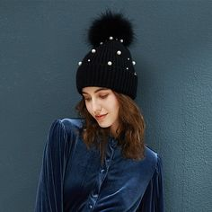 4301f179ba1 Winter Beanie Women s Pearl Curled Hat Pompom Thick Warm Hats 2018 New  Brand Knitted Wool Beanies High Quality Skullies Beanies