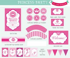 Leo Loves Invitations - Princess Party Printable Set Printable Set Party Printables designed in Cape Town, South Africa  available at http://www.leolovesinvitations.co.za http://www.facebook.com/leolovesinvitations