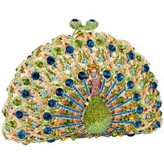 Amazon.com: MG Collection Green Peacock Crystals Half Moon Hard Case Clutch Evening Bag: Clothing