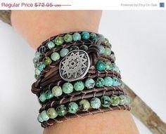 Turquoise 5 wrap bracelet - African turquoise brown leather bracelet -southwestern jewelry - bohemian boho wrap bracelet on Etsy, $65.66