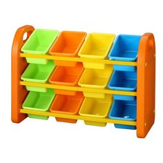 Our plastic children's toy storage organiser rack with bins is a great space saving piece of children's furniture to store all those toys, paints and art materials. This colourful kids storage unit is strong and features 12 compartments. Plastic Storage Units, Storage Tubs, Kids Storage, Storage Containers, Storage Boxes, Storage Ideas, Easy Storage, Do It Yourself Organization, Toy Organization