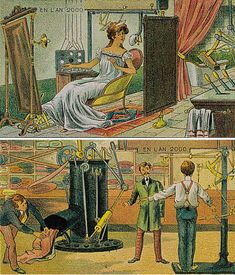 Postcards depicting the year 2000 in 1910.  I like how there are advanced machines but the clothes haven't changed.