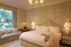China Seas Hawthorne bed curtains and  wallpaper