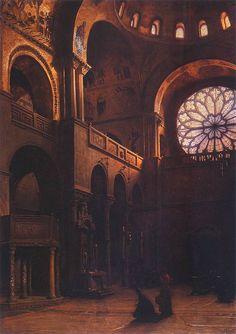 The interior of St. Peter's. Mark's in Venice, 1899, Aleksander Gierymski. Polish (1850-1901)