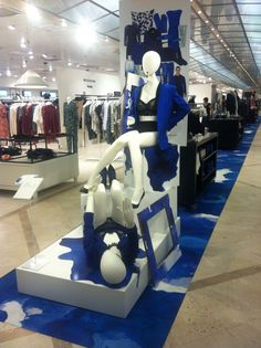 """""""The Blues""""instore display at Magasin Du Nord,Department Store Denmark, pinned by Ton van der Veer"""