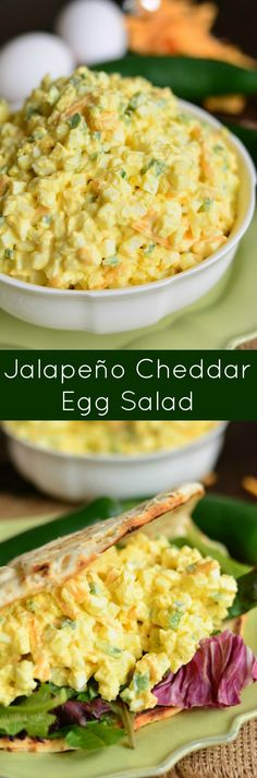 Jalapeno Cheddar Egg Salad. This simple egg salad only had a few ingredients but a great combination of flavors from spicy jalapeno peppers and sharp cheddar cheese. #eggsalad #eggs #jalapeno