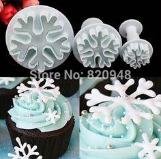 10 do floco de neve de natal conjunto bolo fondant plástico cortador de biscoitos êmbolo imprensa cupcake decoração alishoppbrasil