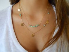 Layered Necklace Set  - Turquoise Stone Beads and Coins