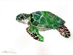 Green Sea Turtle Original watercolor painting 9 X by ORIGINALONLY, $28.00