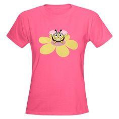 Happy Cartoon Bee On Flower T-Shirt $25.99 #clothing #shirt #cafepress