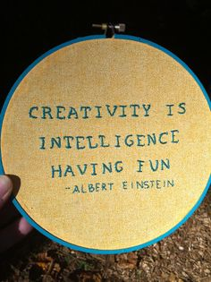 Albert Einstein Hand Embroidery Quote 7 by LadyJaneLongstitches, $32.00