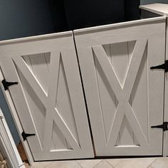 Dog Gate - Dog Owner Advice For People Unfamiliar With Dogs Diy Dog Gate, Industrial Farmhouse Table, Doors, Double Doors, Living Room Wall Units, Rustic Barn, Rustic Barn Door, Homemade Furniture, Cabinet Door Styles